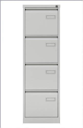 Bisley LIGHT Hängeregistraturschrank, einbahnig, DIN A4, 4 HR-Schubladen, 100 Prozent Schubladenauszug, Metall, 645 Lichtgrau, 62.2 x 41.3 x 132.1 cm, Stahl,