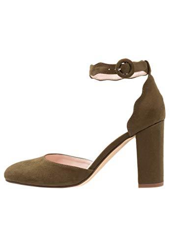 Anna Field Damen Pumps mit Blockabsatz - Schuhe mit Fesselriemchen - Absatzschuhe in Oliv, Größe 39