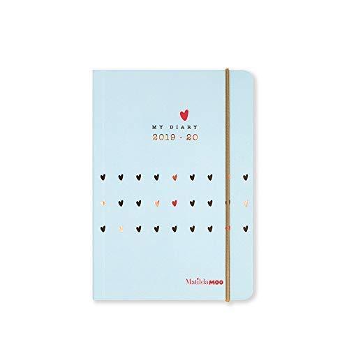 Matilda MOO 2019-20 Flex Cover A6 Tageskalender Mitte Juli bis Juli A6 Blue Diary -