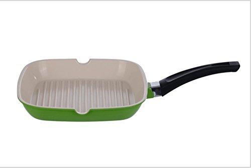 24cm28cm non fumi antiaderente padella fatta di bistecca piazza alluminio, pan frittata, senza un coperchio, rosso e verde , green , 24cm