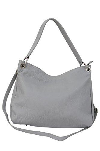 AMBRA Moda Damen echt Ledertasche Handtasche Schultertasche Beutel Shopper Umhängtasche GL002 Viele Farben Hellgrau