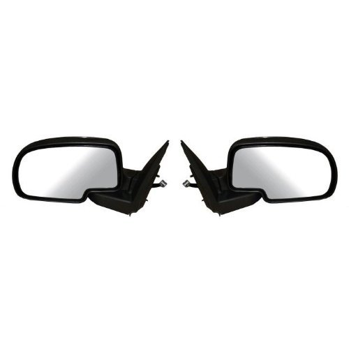 2000-2006 Chevy/GMC Suburban 1500 2500, Tahoe, Yukon, Yukon XL 1500 XL 2500 Power Heated Black Textured Side View Mirrors with Puddle Light Pair Set Left Driver AND Right Passenger Side (2000 00 2001 01 2002 02 2003 03 2004 04 2005 05 2006 06) by Aftermarket Auto