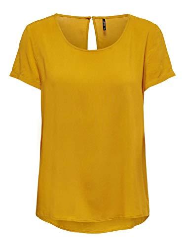 ONLY NOS Damen ONLFIRST SS TOP NOOS WVN Bluse, Gelb Golden Yellow, Small (Herstellergröße: 36)