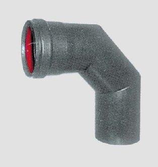 Pellet Ellenbogen (Ellenbogen A 90° x Pelletofen aus Steingut von mm. 1C/Dichtung Durchm. Cm. 8x 90° schwarz matt)