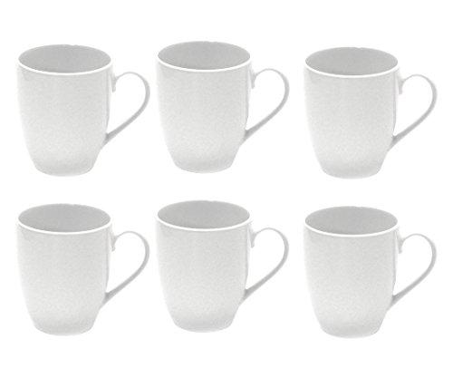Arzberg Retsch Service Tasse à Café, Porcelaine, 300 ml bombée, blanches, blanc (Lot de 6)