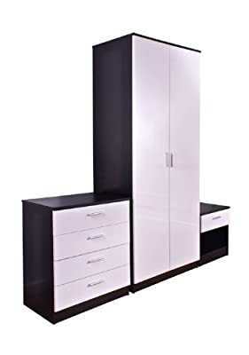 Trio White High Gloss & Black Frame 3 Piece Bedroom Furniture Set - inexpensive UK wordrobe shop.