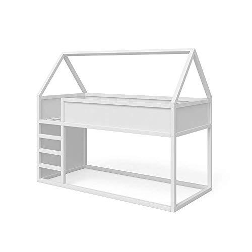 VitaliSpa Haus Hochbett Pinocchio - Spielbett Kinderbett Leiter Erle weiß Hausbett Jugendbett 90 x 200 cm, inkl. nutzbarer Fläche unter dem Bett