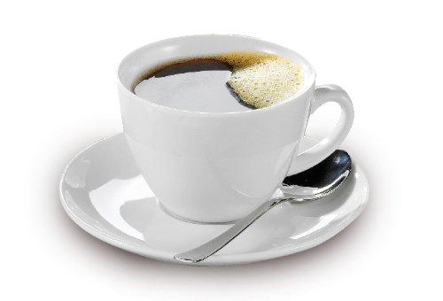 Esmeyer 433-255 6er Set Kaffee-Tassen 0,20 ltr. mit Untertassen aus weißem schweren Porzellan Form...