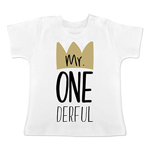Geburtstag Baby - Mr One Derful - 12-18 Monate - Weiß - BZ02 - Baby T-Shirt Kurzarm