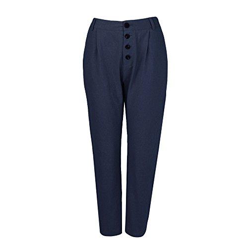YWLINK Damen Kleidung,Frauen Hohe Taille Lange Hosen Einfarbig Taste BeiläUfige Bleistifthose Tasche