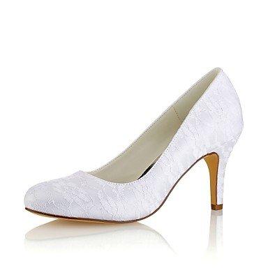Wuyulunbi@ Scarpe da donna in raso elasticizzato caduta della molla della pompa base scarpe matrimonio Stiletto Heel punta tonda per Party & sera abito bianco Bianco