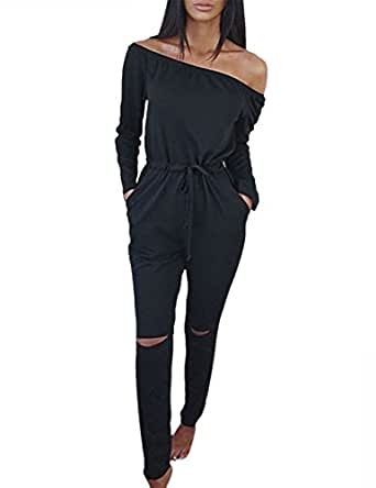 647eaaace7a Womens Long Sleeve Off Shoulder Jumpsuit Rip Knee Romper Playsuit Casual  Tracksuit M Black
