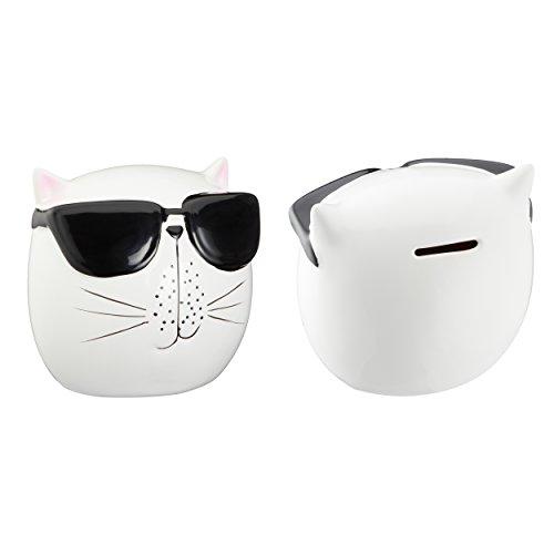 Cepewa wunderschöne Spardose Katze mit Brille, Größe ca. 13 cm mit Schwarzem Gummistopfen