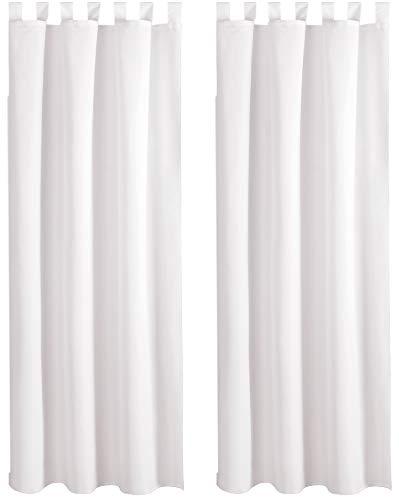 Bestlivings Blickdichte Gardine im 2er Pack mit Schlaufen (140x145 cm/Weiß), in vielen Farben