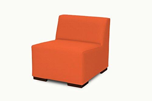 SuenosZzz- Sofa exterior modular Benahavis 1 Plaza color naranja tapizado en polipiel Silva. Chill Out jardin o recepcion.