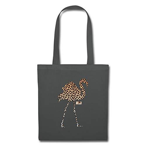 Spreadshirt Animal Planet Leoprint Flamingo Stoffbeutel, Graphite