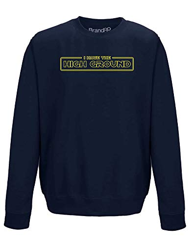 Brand88 I Have The High Ground, Erwachsene Gedrucktes Sweatshirt - Dunkelblau/Gelb M = 102cm