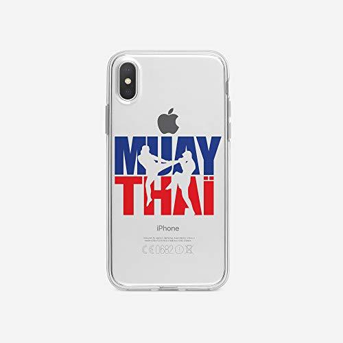 licaso iPhone X IPX Handyhülle TPU mit Muay Thai Logo Print Motiv - Transparent Cover Schutz Hülle Aufdruck Lustig Funny Druck