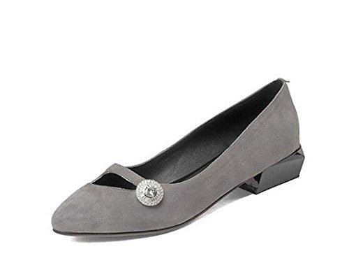 Beauqueen 2017 moda pantofole piana di pelle scamosciata punta-punta cintura estate casual ufficio pattini eleganti Europa Size 34-39 Grey