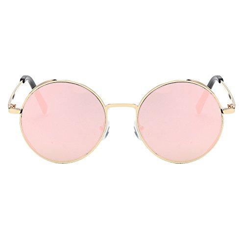 enbrille Vintage Rund Steampunk Brillen Polarisiert - Hell-Pink ()