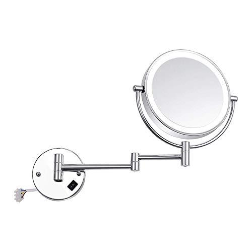 Kosmetikspiegel Wandmontage 7-Fach vergrößert und beleuchtet mit 8-Zoll-LED-Wandmontagespiegel beidseitig mit Modespiegel mit Lichtern (Farbe: Silber, Größe: 8-Zoll-7-fach)