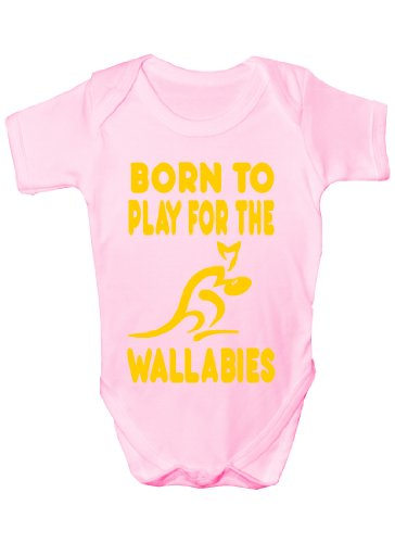 Born To Play pour Wallabies/Australie/Rubgy ~Cadeau humoristique Bébé Fille/Garçon-Gilet - Rose - 3 mois