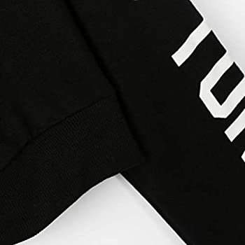 Xmiral Women Sweatshirt Letters Long Sleeve Hoodie Women Fashion Polyester Pullover Tops Blouse (S,black) 3