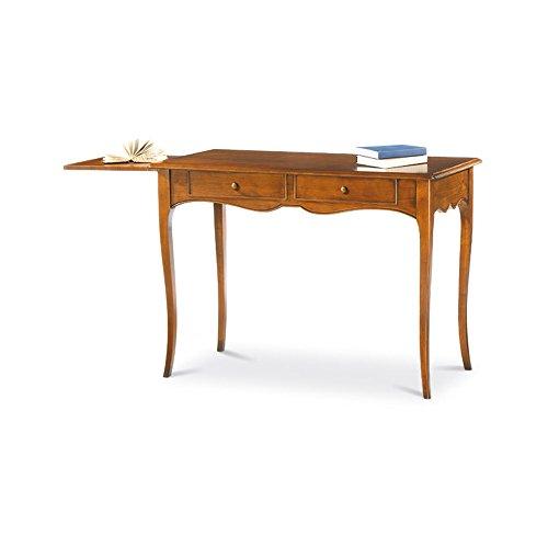Scrittoio con piano estraibile dx, stile classico, in legno massello e mdf con rifinitura in noce lucido - mis. 110 x 56 x 80