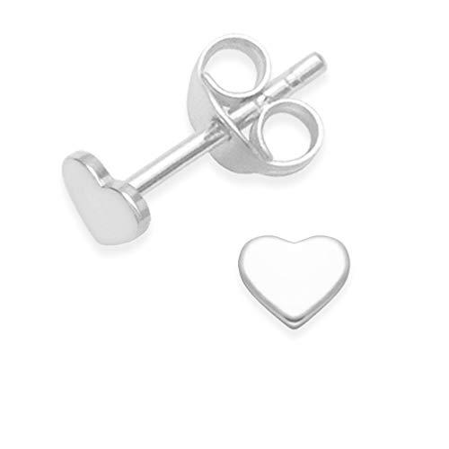 Heather Needham Silver 5010 - Orecchini a lobo piatti, a forma di cuore, in argento puro, misura piccola 4 mm Con scatola regalo.