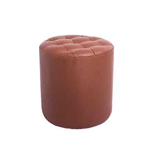 Design Hocker,Mini Kindergarten Sitzhocker Sitz Stuhl für Schlafzimmer Spielzimmer,Schuhhocker Lederhocker Wohnzimmer Zuhause Sofa Hocker quadratischer Hocker Couchtisch Hocker,Rundes Braun