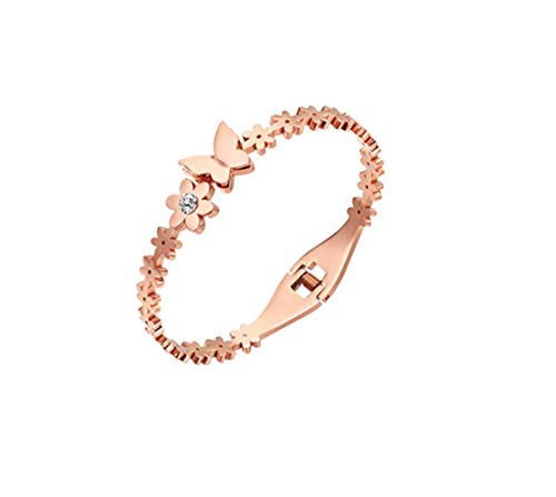 L&H Damenarzete Plated 18K Rose Gold Single Diamond Butterfly Titanium Steel Color Gold Armband Small Daisy Ornament Couple Birthday Gift -