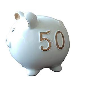 Goldbach Geschenkartikel Keramik Sparschwein zum 50 Geburtstag auch goldene Hochzeit