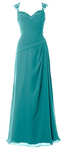 MACloth Women Cap Sleeves Long Mother of Bride Dress Open Back Party Formal Gown Oasis
