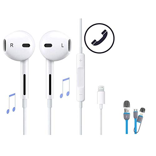 Wolfarya cuffie auricolari auricolare compatibile per apple iphone i phone lightning 7, 8, 7 plus, 8 plus, x (connettore bluetooth)