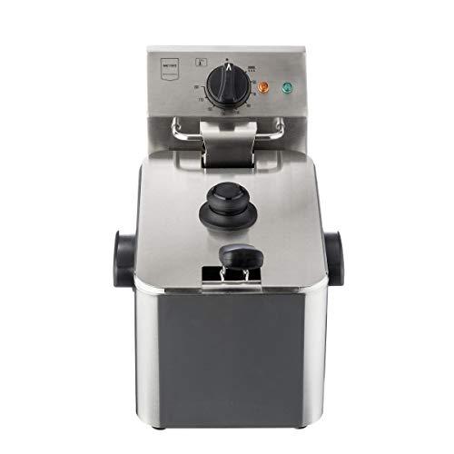 Metro Professional Elektrische Friteuse GDF3004   Single   4 Liter   2500 W   Kaltzone   mit Deckel   Sicherheitsthermostat   Fritteuse   Edelstahl   Profi   auch für gewerblichen Einsatz geeignet