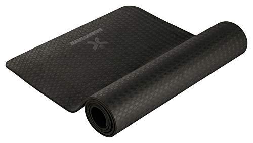 BODYMATE Yogamatte Premium TPE Schwarz - Größe 183x61cm - Dicke 6mm - Schadstoffgeprüft durch SGS frei von Phthalaten, BPA, Schwermetallen - Trainings-Matte für Fitness, Yoga, Pilates, Functional