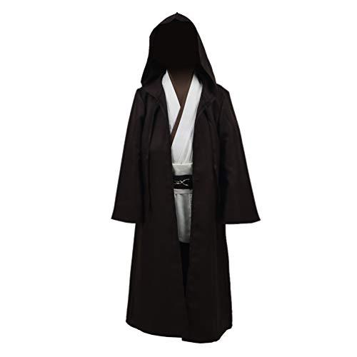 Knight Jedi Luke Kostüm - Qian Qian Kinder Tunic Cosplay Kostüm Mit Kapuze Robe Outfits Halloween Knight Umhang Anzug Uniform (L, Braun - weiß)