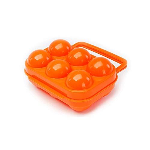 Aofocy 1 Stück Tragbare 6 Schutzgitter Eierbehälter aus Kunststoff für Camping Verwendung Picknick (orange)