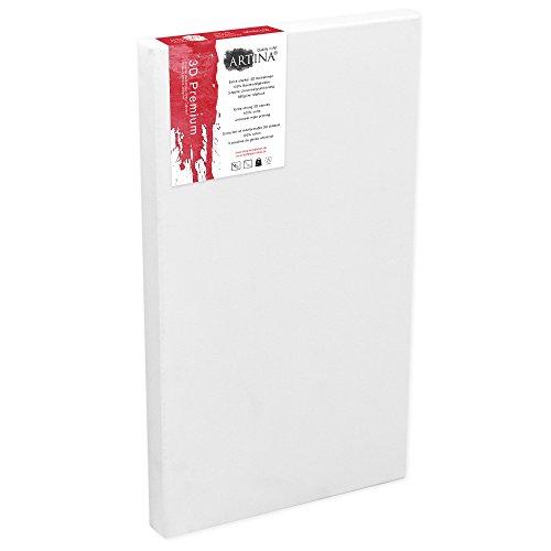 Artina 60x120 cm Leinwand aus 100% Baumwolle auf stabilem Keilrahmen in 3D Premium Qualität - Weiß vorgrundiert 380g/m²