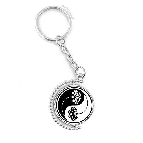 DIYthinker Buddhismus Buddhist Yin-Yang Blume Drehbare Schlüsselanhänger Ringe 1.2 Zoll x 3.5 Zoll Mehrfarbig