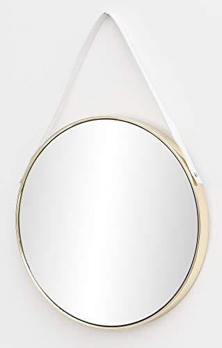 FineBuy Wandspiegel FB15953 42x61x4 cm Spiegel mit Rahmen Gold Flurspiegel Rund | Hängespiegel Flur zum Aufhängen Groß | Garderobenspiegel Wand Modern | Dekospiegel Wohnzimmer Schlafzimmer
