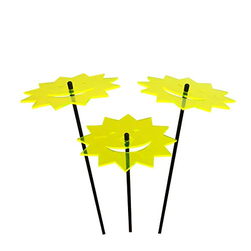DSD Supplies ltd. SunCatcher Set mit 3 Stück, lachende Sonne, 150 mm Durchmesser, Fluoreszierende Gartendekoration auf Stab, innovatives Heimdeko, für den Garten, Balkon, Weg und Terrasse blau (Supplies Shamrock-party)