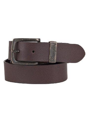 Wrangler Herren Jeans Leder Gürtel Double Stitched Belt W0080US85 brown (Wrangler Leder)