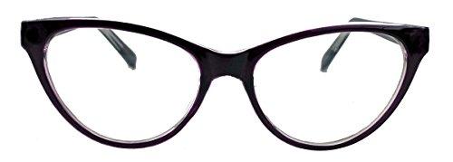 kleinere filigrane Damen Nerd Brille 50er 60er Jahre Cat Eye Brillengestell Klarglas CN90 (Plum)