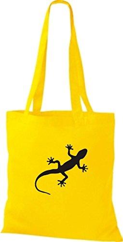 ShirtInStyle Stoffbeutel Gecko Echse Leguan Baumwolltasche Beutel, diverse Farbe sunflower