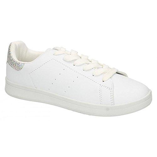 Spot On Glitter Heel - Baskets à lacets - Femme Blanc