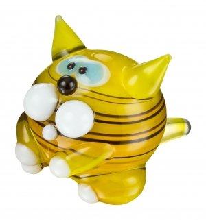 Katze aus Glas Gelb Braun Schwarz Gestreift - Miniatur Tiger Kater mit Streifen - Figur gestreiftes Kätzchen mini -Nr.1 gestreifte Glasfigur Setzkasten Deko Vitrine Glückbringer Yellow Tabby (Gestreifte Kätzchen)