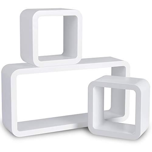 Woltu 9210-a mensole da muro mensola a cubo scaffale parete legno mdf moderno 3 pezzi diametro diverso bianco