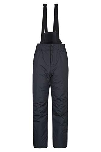 Mountain warehouse dusk pantaloni da sci da uomo - pantaloni da sci con due tasche, ghette da neve, vita in elastico e fondi inferiori idrorepellenti grigio scuro x-large