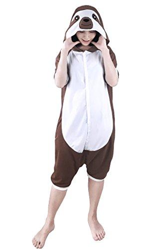 wotogold Summer Tier Faultier Pyjamas Unisex Erwachsene Sloth Cosplay Kostüme Brown
